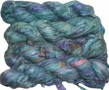 100g Sari SILK Ribbon Art Yarn Aqua Splash