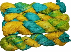 100g Sari SILK Ribbon Art Yarn Aqua Yellow Bright