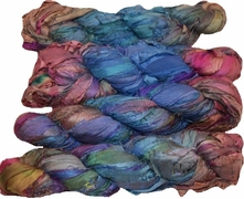 100g Sari SILK Ribbon Art Yarn Blue Tangerine