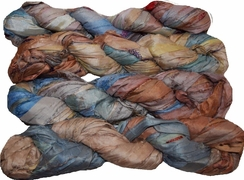 100g Sari SILK Ribbon Art Yarn Brown Gray Blue