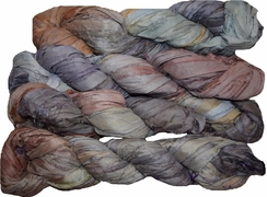 100g Sari SILK Ribbon Art Yarn Brown Gray Violet