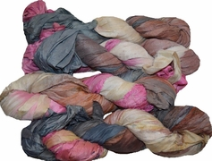 100g Sari SILK Ribbon Art Yarn Brown Pink