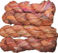 100g Sari SILK Ribbon Art Yarn Carrot Orange