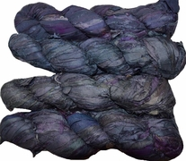 100g Sari SILK Ribbon Art Yarn Deep Purple Grey