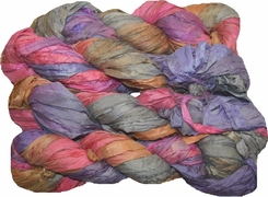 100g Sari SILK Ribbon Art Yarn Lavender Brown Pink
