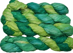 100g Sari SILK Ribbon Art Yarn Lime Green