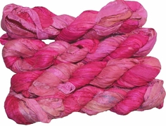 100g Sari SILK Ribbon Art Yarn Mulberry Pink