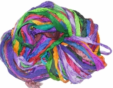 Sari SILK 100g Ribbon Yarn Multi Viola
