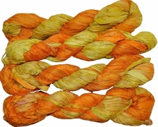100g Sari SILK Ribbon Art Yarn Orange Garden