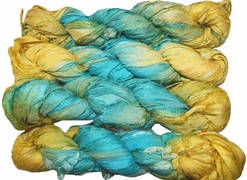 100g Sari SILK Ribbon Art Yarn Pacific Opal