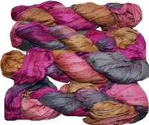 100g Sari SILK Ribbon Art Yarn Pink Brown Gray