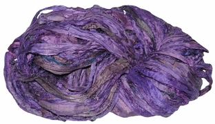 Sari SILK 100g Ribbon Yarn Purple