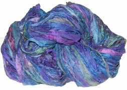 Sari SILK 100g Ribbon Yarn Purple Blue Lavender