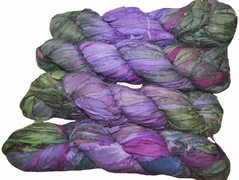 100g Sari SILK Ribbon Art Yarn Purple Garden