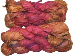 100g Sari SILK Ribbon Art Yarn Raddish Gold