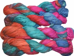 100g Sari SILK Ribbon Art Yarn Red Blue Pink
