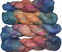 100g Sari SILK Ribbon Art Yarn Salmon Blue