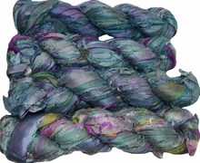 100g Sari SILK Ribbon Art Yarn Sea Blue