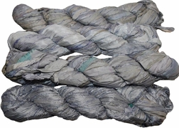 100g Sari SILK Ribbon Art Yarn Silver Grey