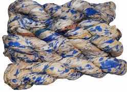 100g Sari SILK Ribbon Art Yarn Splash Blue Firework
