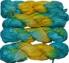 100g Sari SILK Ribbon Art Yarn Turquoise Yellow