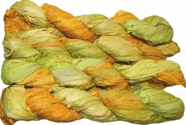 100g Sari SILK Ribbon Art Yarn Yellow Apple