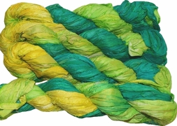 100g Sari SILK Ribbon Art Yarn Yellow Lime Bright