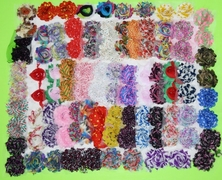 "30 QTY Print Shabby Chiffon Fabric Hair FLOWERS 2"" - 2.5"" 15 colors, 2 psc per color"