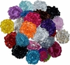 "30 QTY Shabby Chiffon Fabric Hair FLOWERS 2"" - 2.5"" mix Metallic"