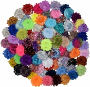 "30 QTY Print Solid MIX Shabby Chiffon Fabric Hair FLOWERS 2"" - 2.5"""