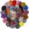 "30 QTY Print Shabby Chiffon Fabric Hair FLOWERS 2"" - 2.5"" mix Print"