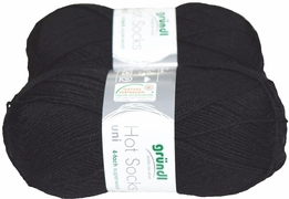 100g GERMAN Silky Solid SuperWash SOCK Yarn Hot Sox UNI Grundl Black
