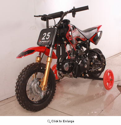 APOLLO/ ORION 70cc AutoMatic Transmission Pit/Dirt Bike Kids Model with Electric Start TRAINING WHEELS Included -