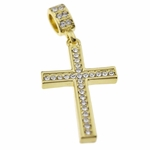 14k Gold Plated Ice Cross Pendant