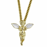 Angel Cuban Chain Silver Wings