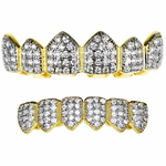 18k Gold Plate 2-Tone Grillz Set