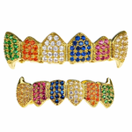 18K Gold Plate CZ Clown Fang Set