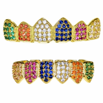 18K Gold Plate CZ Clown Grillz Set