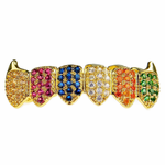 18K Gold Plate CZ Clown Low Fangs