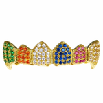 18K Gold Plate CZ Clown Top Fangs