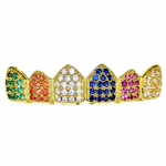 18K Gold Plate CZ Clown Top Grillz
