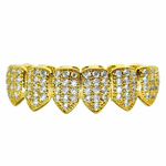18K Gold Plate CZ Low Grillz