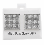 Square Silver 20MM Screw Earrings