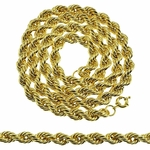"36"" x 10mm Gold Finish Rope Chain"
