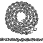 "36"" x 10 mm Silver Tone Rope Chain"