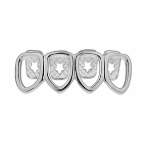 All 4 Open Low Silver Grillz
