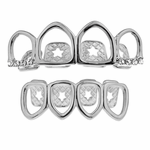 Silver 4 Full Open Grillz Set