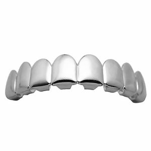 Silver 8 Tooth Upper Grillz
