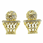 Basketball Earrings Gold Tone