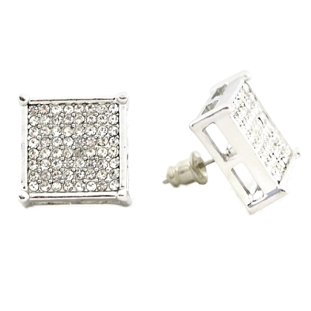 Square Silver Earrings 15mm